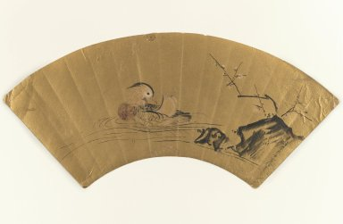 Kiyohara Yukinobu (Japanese, active mid-17th century). <em>Mandarin Duck and Blossoming Plum</em>, Mid-17th century. Fan painting, ink and light color on gold leaf, 8 3/4 x 18 7/8 in. (22.2 x 47.9 cm). Brooklyn Museum, Gift of Howard Hollis, 75.172.3. Creative Commons-BY (Photo: Brooklyn Museum, 75.172.3_IMLS_PS3.jpg)