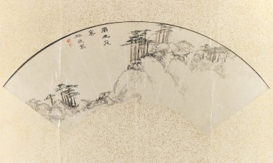 Baiitsu Yamamoto (Japanese, 1783-1856). <em>Landscape</em>, 19th century. Fan painting, ink and light color on paper, Image: 8 x 18 1/2 in. (20.3 x 47 cm). Brooklyn Museum, Gift of Mrs. Harry McLeod, 75.175. Creative Commons-BY (Photo: Brooklyn Museum, 75.175_IMLS_PS3.jpg)