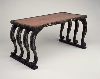 <em>Low Table</em>, 12th-14th century. Wood, lacquer, mother of pearl inlay, gilt bronze, 18 1/2 x 37 7/8 x 18 11/16 in. (47 x 96.2 x 47.5 cm). Brooklyn Museum, Gift of Amy and Robert L. Poster, 75.176. Creative Commons-BY (Photo: Brooklyn Museum, 75.176_threequarter_SL3.jpg)