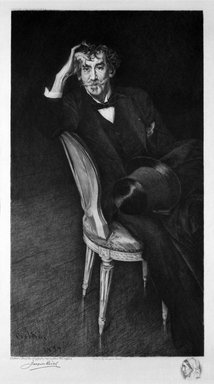 Jacques Reich (American, born Hungary, 1852-1923). <em>Portrait of Whistler</em>, 1916. Etching on paper, sheet: 25 5/8 x 18 3/4 in. (65.1 x 47.6 cm). Brooklyn Museum, Gift of Oswald Reich, 75.185 (Photo: Brooklyn Museum, 75.185_bw.jpg)