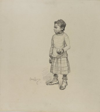Benjamin Osro Eggleston (American, 1867-1937). <em>Little Girl Holding an Apple</em>, 1927. Graphite on cream, moderately thick, very smooth wove paper, sheet: 10 1/8 x 11 1/16 in. (25.7 x 28.1 cm). Brooklyn Museum, Dick S. Ramsay Fund, 75.187 (Photo: Brooklyn Museum, 75.187_PS3.jpg)