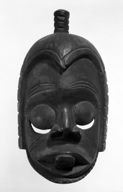 Ibibio. <em>Idiok Ekpo Skull Mask</em>, early 20th century. Wood, 13 3/4 x 7 3/4 x 6 in. (34.9 x 19.7 x 15.3 cm). Brooklyn Museum, Gift of Mr. and Mrs. J. Gordon Douglas III, 75.189.6. Creative Commons-BY (Photo: Brooklyn Museum, 75.189.6_bw.jpg)