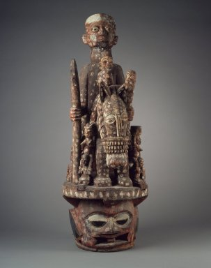 Yorùbá. <em>Epa Mask</em>, early 20th century. Wood, paint, ferrous nails, 46in. (116.8cm). Brooklyn Museum, Gift of Jerome Furman, 75.190. Creative Commons-BY (Photo: Brooklyn Museum, 75.190.jpg)