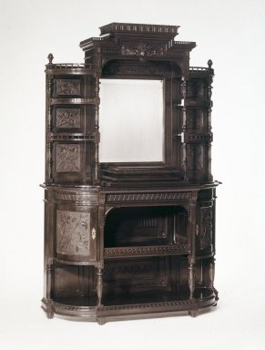 <em>Cabinet</em>, ca. 1885. Ebonized cherry, 43 x 46 1/2 x 13 1/2 in. (109.2 x 118.1 x 34.3 cm). Brooklyn Museum, H. Randolph Lever Fund, 75.1. Creative Commons-BY (Photo: Brooklyn Museum, 75.1_transpc002.jpg)