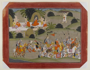 Indian. <em>Battle between Lava and Rama's brother, Shatrughna, near the hermitage of Valmiki, Page from a Dispersed Ramayana Series</em>, ca. 1820. Opaque watercolor and gold on paper, sheet: 13 1/4 x 17 1/4 in.  (33.7 x 43.8 cm). Brooklyn Museum, Gift of Mr. and Mrs. Ed Wiener, 75.203.2 (Photo: Brooklyn Museum, 75.203.2_IMLS_PS4.jpg)