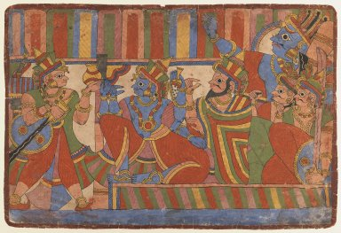 Indian. <em>Krishna Counsels the Pandava Leaders, Page from a Mahabharata series</em>, ca. 1830-1850. Opaque watercolor on paper, sheet: 11 x 16 1/4 in.  (27.9 x 41.3 cm). Brooklyn Museum, Gift of Doris and Ed Wiener, 75.203.4 (Photo: Brooklyn Museum, 75.203.4_IMLS_PS3.jpg)