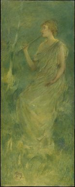 Thomas Wilmer Dewing (American, 1851-1938). <em>Music</em>, ca. 1896-1900. Oil on canvas mounted on composition board and wooden panel, 51 7/16 x 20 7/16 in. (130.7 x 51.9 cm). Brooklyn Museum, Gift of Martin Horwitz, 75.206 (Photo: Brooklyn Museum, 75.206_SL1.jpg)