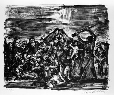 Arbit Blatas (American, born Lithuania, 1908-1999). <em>Babi Yar</em>, ca. 1944. Lithograph on paper, Sheet: 19 3/4 x 25 3/8 in. (50.2 x 64.5 cm). Brooklyn Museum, Anonymous gift, 75.215.1. © artist or artist's estate (Photo: Brooklyn Museum, 75.215.1_bw.jpg)