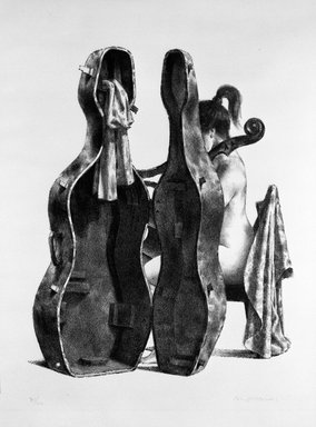 Joseph Hirsch (American, 1910-1981). <em>Cellist</em>, 1969. Lithograph, 25 3/4 x 19 3/4 in. (65.4 x 50.2 cm). Brooklyn Museum, Anonymous gift, 75.215.3. © artist or artist's estate (Photo: Brooklyn Museum, 75.215.3_bw.jpg)