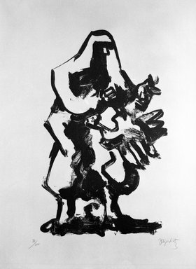 Jacques Lipchitz (American, born Lithuania, 1891-1973). <em>Prometheus and the Vulture</em>, n.d. Lithograph on paper, print and sheet: 30 x 22 1/4 in.  (76.2 x 56.5 cm). Brooklyn Museum, Anonymous gift, 75.215.5. © artist or artist's estate (Photo: Brooklyn Museum, 75.215.5_bw.jpg)