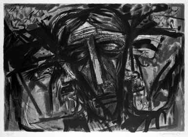 Abraham Rattner (American, 1895-1978). <em>The Prophets</em>. Lithograph on paper, sheet: 20 7/8 x 27 5/8 in. (53 x 70.2 cm). Brooklyn Museum, Anonymous gift, 75.215.6. Creative Commons-BY (Photo: Brooklyn Museum, 75.215.6_bw.jpg)