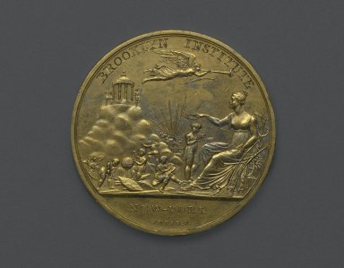 Moritz Furst (American, born Hungary, 1782-died after 1841). <em>Brooklyn Institute Medal</em>, ca. 1845. Gold-plated metal, 2 1/16 x 2 1/16 x 1/8 in. (5.2 x 5.2 x 0.3 cm). Brooklyn Museum, H. Randolph Lever Fund, 75.24.2. Creative Commons-BY (Photo: Brooklyn Museum, 75.24.2_top_PS2.jpg)