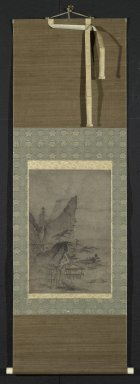 Kenko Shokei (Japanese, flourished ca. 1478-1506). <em>Lakeside Mountain Landscape</em>, 16th century. Hanging scroll, ink and light color on paper, Exclusive of mounting: 18 x 12 in. (45.7 x 30.5 cm). Brooklyn Museum, Designated Purchase Fund, 75.31 (Photo: Brooklyn Museum, 75.31_PS2.jpg)