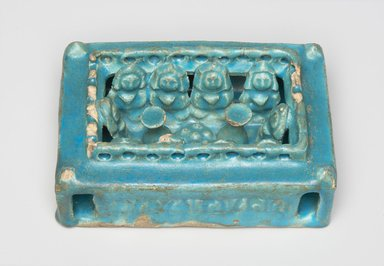 <em>House Model</em>, 12th-13th century. Ceramic; fritware, molded with a turquoise glaze, 1 1/2 x 3 3/4 x 5 5/8 in. (3.8 x 9.5 x 14.3 cm). Brooklyn Museum, Gift of Dr. and Mrs. Lewis M. Fraad, 75.3. Creative Commons-BY (Photo: , 75.3_PS11.jpg)