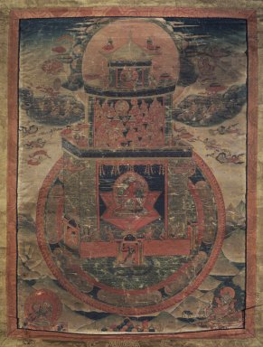 <em>Vajrayogini</em>, early 19th century. Color and gold on cotton, image: 17 1/2 x 12 1/2 in. (44.5 x 31.8 cm). Brooklyn Museum, Gift of Dr. and Mrs. Lewis M. Fraad , 75.57. Creative Commons-BY (Photo: Image courtesy of the Shelley and Donald Rubin Foundation, George Roos,er, 75.57.jpg)