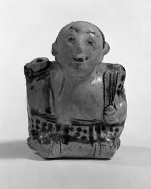 <em>Sawankhalok Sgraffiato Figure of a Hunchback</em>, 15th-16th century. Porcellaneous stoneware, 3 1/8 x 2 3/8 x 2 1/4 in. (8 x 6 x 5.7 cm). Brooklyn Museum, Designated Purchase Fund, 75.60.1. Creative Commons-BY (Photo: Brooklyn Museum, 75.60.1_bw.jpg)