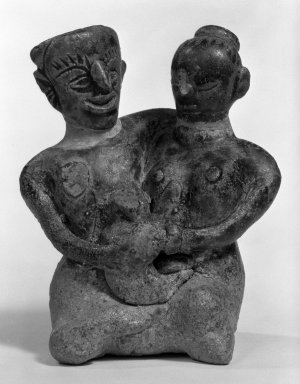 <em>Sawankhalok Figure of a Seated Couple with a Child</em>, 14th-15th century. Porcellaneous stoneware, 3 3/4 x 3 1/8 x 2 3/8 in. (9.5 x 8 x 6 cm). Brooklyn Museum, Designated Purchase Fund, 75.60.2. Creative Commons-BY (Photo: Brooklyn Museum, 75.60.2_bw.jpg)