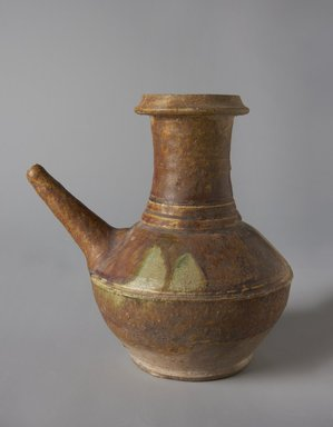 <em>Kendi (Southeast Asian Drinking Flask)</em>, 13th-14th century. Earthenware, 6 5/8 x 4 3/8 in. (16.8 x 11.1 cm). Brooklyn Museum, Designated Purchase Fund, 75.62.6. Creative Commons-BY (Photo: Brooklyn Museum, 75.62.6_side1_PS11.jpg)