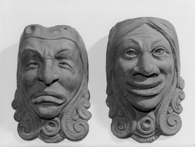 Unknown. <em>Indian Head Comic Mask</em>, ca. 1900. Red terra-cotta, 11 1/2 x 8 1/4 in. (29.2 x 21 cm). Brooklyn Museum, Gift of Herbert Hemphill, 75.68.2. Creative Commons-BY (Photo: , 75.68.1_75.68.2_bw.jpg)