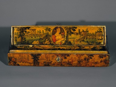 <em>Pen box</em>, 19th century. Ink, opaque watercolor, and gold with gold flecks on papier mâché under lacquered varnish; lacquered marbleized paper, 2 x 2 1/4 x 10 7/8 in. (5.1 x 5.7 x 27.6 cm). Brooklyn Museum, Gift of Mr. and Mrs. A. Hyatt Mayor in honor of Charles K. Wilkinson, 75.6. Creative Commons-BY (Photo: Brooklyn Museum, 75.6_edited_version_SL1.jpg)