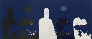 May Stevens (American, 1924-2019). <em>Big Daddy Paper Doll</em>, 1970. Acrylic on canvas, Canvas: 72 x 168 in. (182.9 x 426.7 cm): not framed. Brooklyn Museum, Gift of Mr. and Mrs. S. Zachary Swidler, 75.73. © artist or artist's estate (Photo: Brooklyn Museum, 75.73_PS2.jpg)