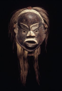 Luba. <em>Lion Mask (Mukunu)</em>, late 19th or early 20th century. Wood, pigment, hair, 18 1/2 x 13 x 8 in. (47.0 x 33.0 x 20.5 cm). Brooklyn Museum, Gift of Marcia and John Friede, 75.75.1. Creative Commons-BY (Photo: Brooklyn Museum, 75.75.1.jpg)