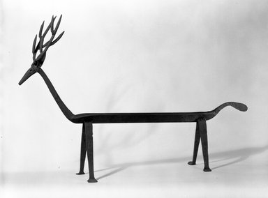 <em>Deer</em>. Wrought iron, 24 1/2 x 8 1/2 x 31 in. (62.2 x 21.6 x 78.7 cm). Brooklyn Museum, Gift of Morton D. May, 75.85. Creative Commons-BY (Photo: Brooklyn Museum, 75.85_bw.jpg)