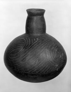 Mississippian. <em>Globular Bottle</em>, 1200-1700. Ceramic, 8 1/4 x 7 3/4 x 7 3/4 in. (21 x 19.7 x 19.7 cm). Brooklyn Museum, Charles Stewart Smith Memorial Fund, 75.88. Creative Commons-BY (Photo: Brooklyn Museum, 75.88_bw.jpg)