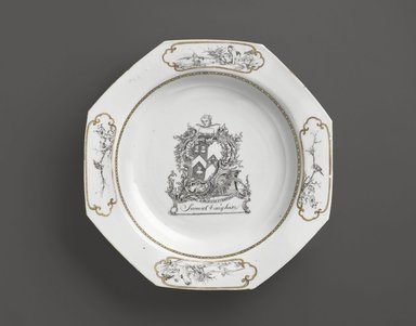 <em>Dinner Plate</em>, 1747-1755. Porcelain, 1 1/2 x 8 9/16 x 8 5/8 in. (3.8 x 21.7 x 21.9 cm). Brooklyn Museum, H. Randolph Lever Fund, 76.100. Creative Commons-BY (Photo: Brooklyn Museum, 76.100_PS6.jpg)