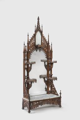 <em>Etagere</em>, ca. 1845-1855. Rosewood veneer, wood, paint, tin-mercury amalgam mirrored glass, marble, steel hardware   , 81 × 33 5/16 × 13 1/2 in. (205.7 × 84.6 × 34.3 cm). Brooklyn Museum, H. Randolph Lever Fund, 76.101. Creative Commons-BY (Photo: Gavin Ashworth, 76.101_GavinAshworth.jpg)