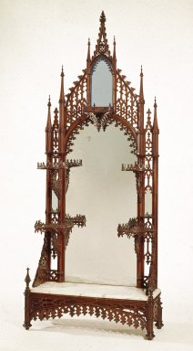 <em>Etagere</em>, ca. 1845-1855. Rosewood veneer, wood, paint, tin-mercury amalgam mirrored glass, marble, steel hardware   , 81 × 33 5/16 × 13 1/2 in. (205.7 × 84.6 × 34.3 cm). Brooklyn Museum, H. Randolph Lever Fund, 76.101. Creative Commons-BY (Photo: Brooklyn Museum, 76.101_IMLS_SL2.jpg)