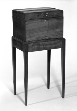 <em>Cellarette on Stand with Key</em>, ca. 1800. Mahogany, 39 3/4 x 19 3/16 x 14 3/4 in. (101 x 48.7 x 37.5 cm). Brooklyn Museum, Purchased with funds given by Eric M. Wunsch, 76.102.1a-c. Creative Commons-BY (Photo: Brooklyn Museum, 76.102.1a-c_bw.jpg)