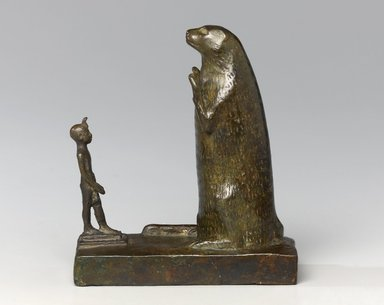 <em>King and Ichneumon</em>, 664-332 B.C.E. Bronze, 5 x 4 1/2 x 2 1/2 in. (12.7 x 11.4 x 6.4 cm). Brooklyn Museum, Charles Edwin Wilbour Fund, 76.105.2. Creative Commons-BY (Photo: Brooklyn Museum, 76.105.2_front_PS1.jpg)