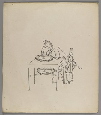 "<em>Album of Separate Leaves: ""Silk Cultivation and Production,""</em> 19th century. Ink on paper, 11 3/8 x 10 in. (28.9 x 25.4 cm). Brooklyn Museum, Gift of Jerome Burns, 76.110a-h (Photo: Brooklyn Museum, 76.110b_recto_IMLS_PS4.jpg)"