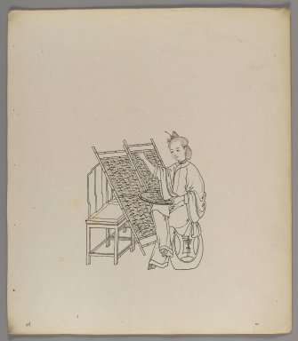 """<em>Album of Separate Leaves: """"Silk Cultivation and Production,""""</em> 19th century. Ink on paper, 11 3/8 x 10 in. (28.9 x 25.4 cm). Brooklyn Museum, Gift of Jerome Burns, 76.110a-h (Photo: Brooklyn Museum, 76.110d_recto_IMLS_PS4.jpg)"""