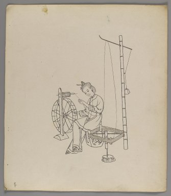 """<em>Album of Separate Leaves: """"Silk Cultivation and Production,""""</em> 19th century. Ink on paper, 11 3/8 x 10 in. (28.9 x 25.4 cm). Brooklyn Museum, Gift of Jerome Burns, 76.110a-h (Photo: Brooklyn Museum, 76.110f_recto_IMLS_PS4.jpg)"""