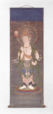 <em>Gatten (Buddhist Hanging Scroll Painting)</em>, 14th century. Hanging scroll, ink and color on silk, Image: 41 x 15 7/8 in. (104.1 x 40.3 cm). Brooklyn Museum, Anonymous gift, 76.116 (Photo: Brooklyn Museum, 76.116_IMLS_SL2.jpg)