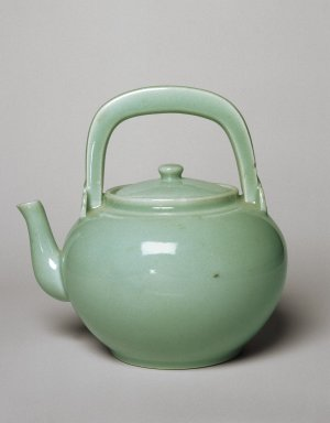 <em>Vessel with Spout</em>, 18th-19th century. Porcelain with gray-green glaze, 8 x 7 7/8 in. (20.3 x 20 cm). Brooklyn Museum, Purchased with funds given by Mrs. Louis Nathanson, 76.117.2. Creative Commons-BY (Photo: Brooklyn Museum, 76.117.2_SL1.jpg)