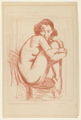 Robert Henri (American, 1865-1929). <em>Nude Perched on Chair</em>, ca. 1910s. Red crayon and graphite on cream, medium-weight, smooth wove paper, Sheet: 12 1/16 x 7 15/16 in. (30.6 x 20.2 cm). Brooklyn Museum, Gift of Dr. and Mrs. Theodore Leshner, 76.127.11 (Photo: Brooklyn Museum, 76.127.11_IMLS_PS3.jpg)