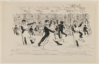 Robert Henri (American, 1865-1929). <em>Ball Room Scene (Couples Dancing)</em>, n.d. Pen and ink on paper, Sheet: 5 3/4 x 8 15/16 in. (14.6 x 22.7 cm). Brooklyn Museum, Gift of Dr. and Mrs. Theodore Leshner, 76.127.1 (Photo: Brooklyn Museum, 76.127.1_IMLS_PS3.jpg)