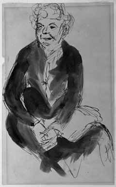 Robert Henri (American, 1865-1929). <em>Woman Sitting with Hands Clasped in Her Lap</em>, n.d. Pen, ink and wash on paper, Sheet: 8 7/8 x 5 1/2 in. (22.5 x 14 cm). Brooklyn Museum, Gift of Dr. and Mrs. Theodore Leshner, 76.127.2 (Photo: Brooklyn Museum, 76.127.2_print_bw.jpg)