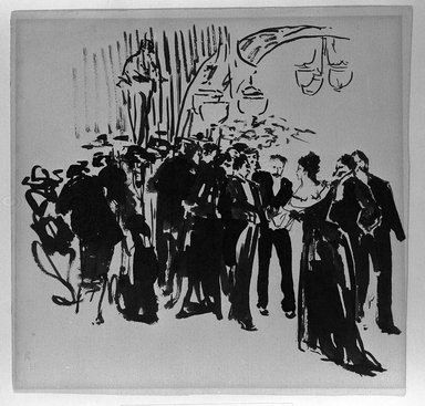 Robert Henri (American, 1865-1929). <em>Party Scene</em>, ca. 1890-1900. Black ink on cream, moderately thick, smooth wove paper, Sheet (slightly irregular): 7 7/8 x 8 1/8 in. (20 x 20.6 cm). Brooklyn Museum, Gift of Dr. and Mrs. Theodore Leshner, 76.127.3 (Photo: Brooklyn Museum, 76.127.3_bw.jpg)