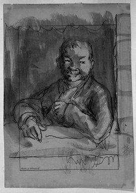 Robert Henri (American, 1865-1929). <em>Bust Length Sketch of Man Leaning on Ledge</em>, n.d. Graphite, ink and wash on paper, Sheet: 8 9/16 x 5 7/8 in. (21.7 x 14.9 cm). Brooklyn Museum, Gift of Dr. and Mrs. Theodore Leshner, 76.127.5 (Photo: Brooklyn Museum, 76.127.5_print_bw.jpg)