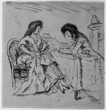 Robert Henri (American, 1865-1929). <em>Conversation</em>, ca. 1905. Pen, ink and graphite on paper, Sheet: 8 7/8 x 8 7/16 in. (22.5 x 21.4 cm). Brooklyn Museum, Gift of Dr. and Mrs. Theodore Leshner, 76.127.6 (Photo: Brooklyn Museum, 76.127.6_print_bw.jpg)