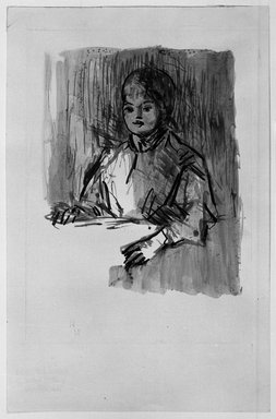 Robert Henri (American, 1865-1929). <em>Child, Bust Length Sketch</em>, n.d. Pen, ink and wash on paper, Sheet: 8 15/16 x 5 3/4 in. (22.7 x 14.6 cm). Brooklyn Museum, Gift of Dr. and Mrs. Theodore Leshner, 76.127.8 (Photo: Brooklyn Museum, 76.127.8_print_bw.jpg)