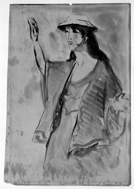 Robert Henri (American, 1865-1929). <em>Woman with Hand Raised</em>, n.d. Watercolor and graphite on paper, Sheet (slightly irregular): 12 7/16 x 9 3/4 in. (31.6 x 24.8 cm). Brooklyn Museum, Gift of Dr. and Mrs. Theodore Leshner, 76.127.9 (Photo: Brooklyn Museum, 76.127.9_bw.jpg)