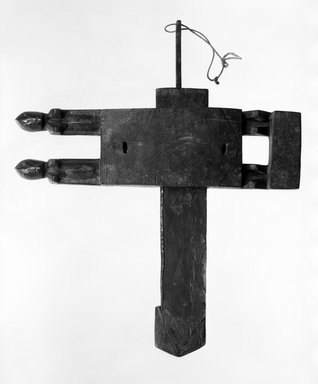 Dogon. <em>Door Lock</em>, late 19th or early 20th century. Wood, iron, 16 3/4 x 19 3/4 x 2 in. (42.5 x 50.1 x 5.0 cm). Brooklyn Museum, Gift of Dr. and Mrs. Abbott A. Lippman, 76.131.1a-c. Creative Commons-BY (Photo: Brooklyn Museum, 76.131.1a-c_bw.jpg)