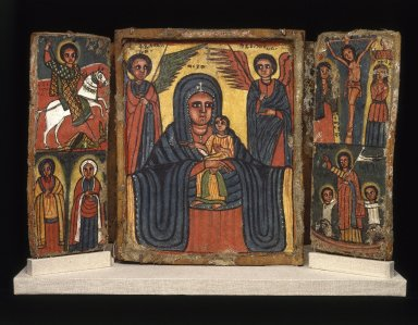 Amhara. <em>Painted Icon, Double Triptych</em>, 19th century. Gesso on linen, tempera, wood, 12 x 18 in. (35.0 x 45.7 cm). Brooklyn Museum, Gift of Mr. and Mrs. Franklin H. Williams, 76.132. Creative Commons-BY (Photo: Brooklyn Museum, 76.132_recto_SL1.jpg)