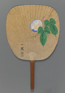 Mori Ippo (Japanese, 1798-1891). <em>Morning Glory</em>, ca. 1870. Fan painting, ink, color and gold fleck on paper over a split-bamboo frame, Overall, including handle: 14 1/4 x 9 in. (36.2 x 22.9 cm). Brooklyn Museum, Purchased with funds given by Mr. and Mrs. Harry Kahn, 76.13. Creative Commons-BY (Photo: Brooklyn Museum, 76.13_recto_IMLS_PS3.jpg)