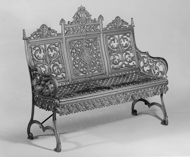 Peter Timmes Son. <em>Bench</em>, ca. 1895. Painted cast iron, 39 3/4 x 43 1/2 x 14 3/4 in. (101 x 110.5 x 37.5 cm). Brooklyn Museum, H. Randolph Lever Fund, 76.143. Creative Commons-BY (Photo: Brooklyn Museum, 76.143_bw.jpg)